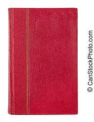 rocznik wina, czerwona książka, odizolowany, na białym, tło