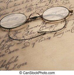 rocznik wina, dokument, stary, okulary