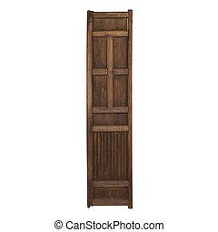 rocznik wina, drewniane drzwi, odizolowany, na białym, tło