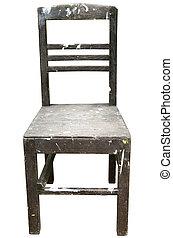 rocznik wina, drewniane krzesło, odizolowany, na białym, tło