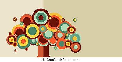 rocznik wina, drzewo, barwny
