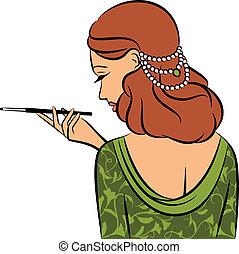 rocznik wina, dziewczyna, fason, beads.