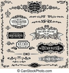 rocznik wina, elementy, komplet, retro, etykieta