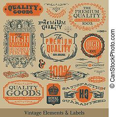 rocznik wina, emblematy, wektor, elementy