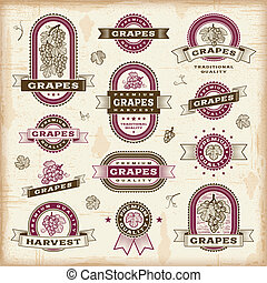 rocznik wina, etykiety, komplet, winogrona