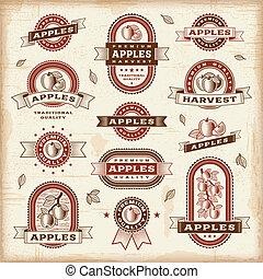 rocznik wina, etykiety, komplet, jabłko