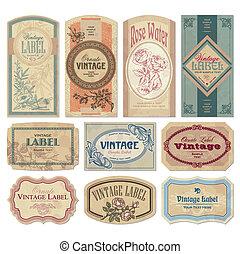 rocznik wina, etykiety, komplet, (vector)