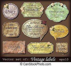 rocznik wina, etykiety, retro