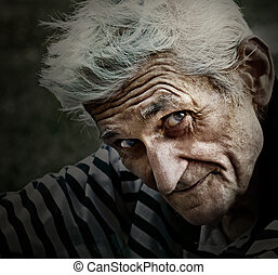 rocznik wina, filozofia, uśmiech, portret, starszy człowiek