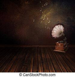 rocznik wina, fonograf, na, sztuka, abstrakcyjny, tło