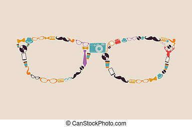 rocznik wina, hipsters, glasses., ikony