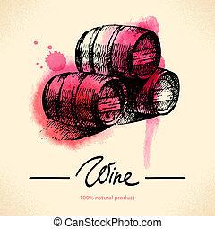 rocznik wina, ilustracja, ręka, akwarela, tło., pociągnięty,...