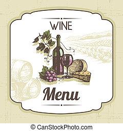rocznik wina, ilustracja, ręka, tło., menu, pociągnięty,...