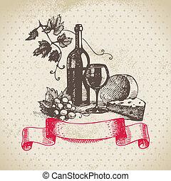 rocznik wina, ilustracja, ręka, tło., pociągnięty, wino