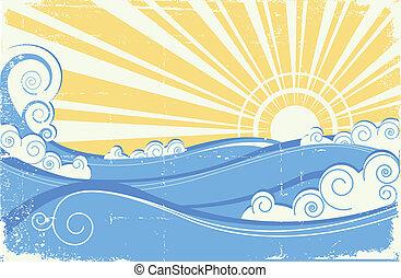rocznik wina, ilustracja, wektor, waves., morze, słońce, krajobraz