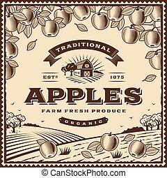 rocznik wina, jabłka, brązowy, etykieta