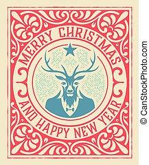 rocznik wina, jeleń, powitanie karta, boże narodzenie
