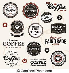 rocznik wina, kawa, etykiety