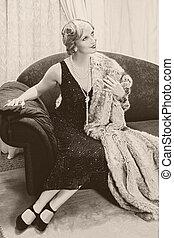 rocznik wina, kobieta, chaise-longue
