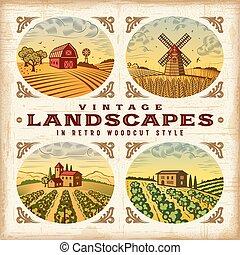 rocznik wina, komplet, krajobrazy, barwny
