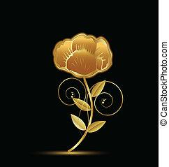rocznik wina, kwiat, projektować, złoty