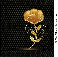 rocznik wina, kwiat, złoty, logo