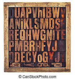 rocznik wina, letterpress, alfabet, beletrystyka