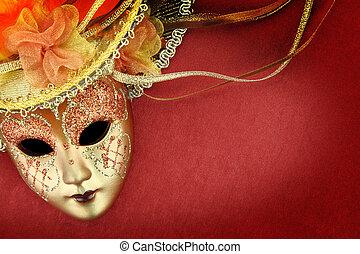rocznik wina, maska, tło, karnawał, czerwony