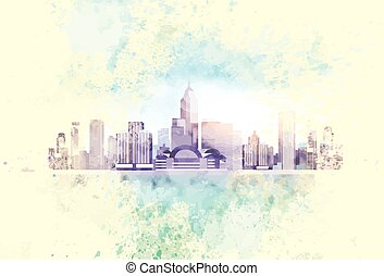 rocznik wina, miasto, drapacz chmur, prospekt, cityscape,...