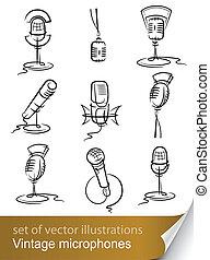 rocznik wina, mikrofon, komplet