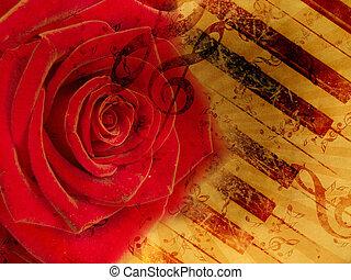 rocznik wina, notatki, czerwone tło, róża