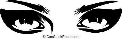 rocznik wina, oczy, makijaż, closeup