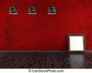 rocznik wina, opróżniać, czarnoskóry, pokój, czerwony
