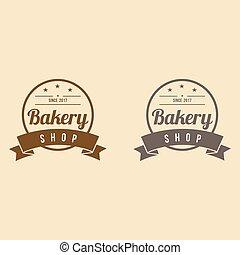 rocznik wina, piekarnia, wektor, projektować, szablon, logo, wstążka