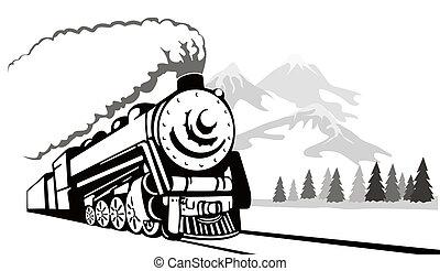 rocznik wina, pociąg, retro