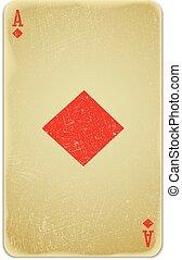 rocznik wina, prosty, tło, :, grając kartę, as