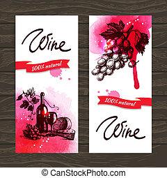 rocznik wina, ręka, akwarela, tło., ilustracje, pociągnięty...