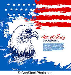 rocznik wina, ręka, amerykanka, 4, projektować, tło, flag., ...