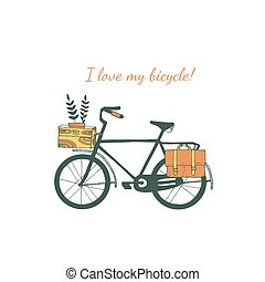 rocznik wina, rower, illustration.