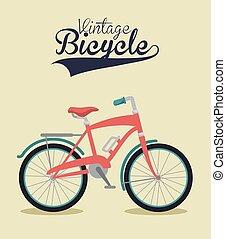 rocznik wina, rower, odizolowany, ikona, projektować