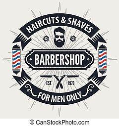 rocznik wina, słup, wektor, fryzjer, szablon, logo, barbershop, style.