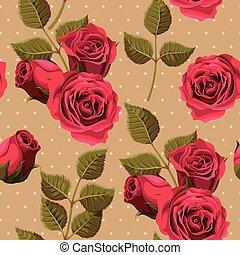 rocznik wina, seamless, róże