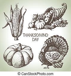 rocznik wina, set., dziękczynienie, ręka, ilustracje, ...