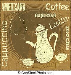 rocznik wina, stać, dla, kawa, kawiarnia, menu