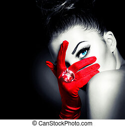 rocznik wina, styl, tajemniczy, kobieta, chodząc, czerwony, blask, rękawiczki