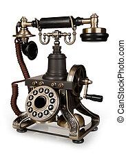 rocznik wina, -, telefon, odizolowany, telefon, retro, tło, biały
