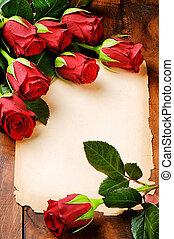 rocznik wina, ułożyć, papier, czerwone róże