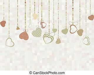 rocznik wina, valentine karta, z, sprytny, hearts., eps, 8