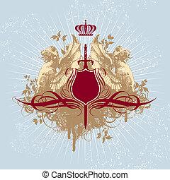 rocznik wina, wektor, skład, griphons