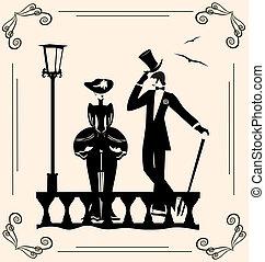 rocznik wina, wizerunek, od, dama, i, człowiek